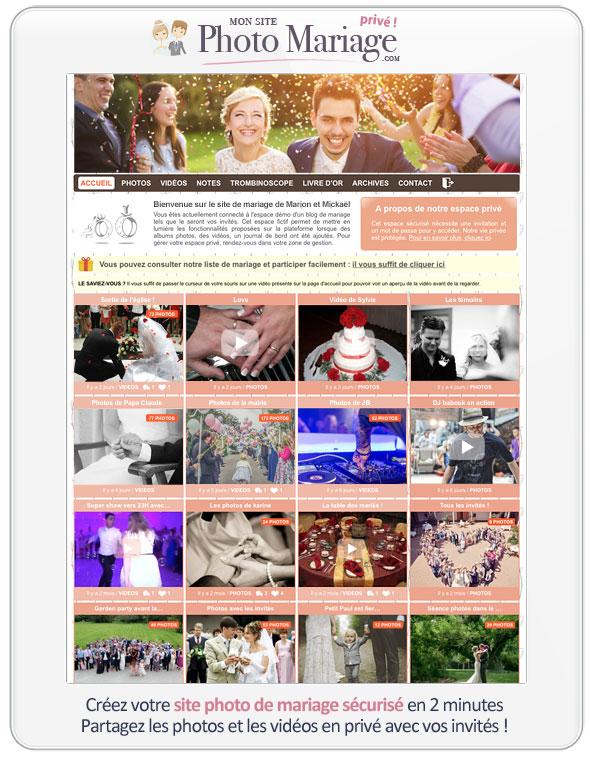 Vos invités vont pouvoir charger les photos et les vidéos qu'ils ont fait pendant votre mariage : profitez d'un espace photo sécurisé collaboratif qui vous permet de récupérer tous vos souvenirs de mariage.