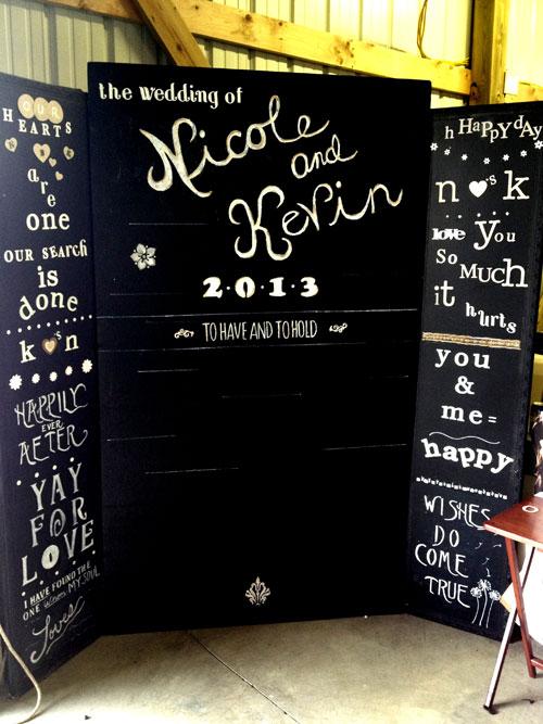 Le must reste le photobooth fait avec les prénoms des mariés ainsi que la date du mariage, par exemple sur un petit panneau que tiendront chacun des invités au moment de la prise de vue.