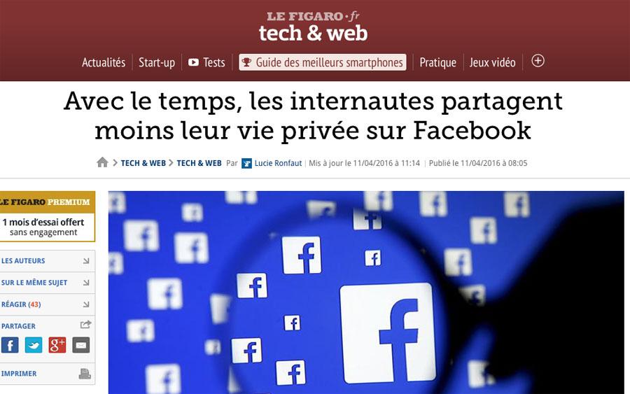 Avec le temps, les internautes partagent moins leur vie privée sur Facebook