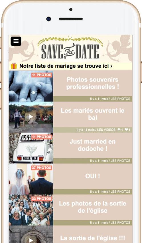 Application pour partager des photos de votre mariage : L'espace nécessite une invitation ainsi qu'un mot de passe pour pouvoir y accéder.
